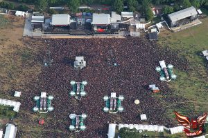 Aerial view of the Wacken Open Air 2010 while Alice Cooper ist performing live